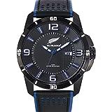 All Blacks - 680238 - Montre Homme - Quartz Analogique - Cadran Noir - Bracelet Cuir Bicolore