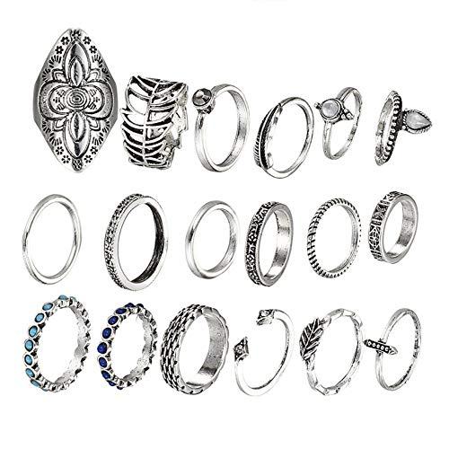 ZUXIANWANG Ring Damen Mode Vintage Achsschenkel Schild Ring Set für Damen Antik Silber farbigen Blatt Stein Modeschmuck - Antik-ring-set