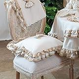 Cuscino per Sedia Shabby Chic Doppio Fiocco Collection 40 x 40 Colore Bianco Beige