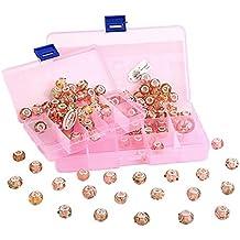 RKC Lote de cuentas de plata 925 y murano para hacer pulseras Pandora y collares, color lila, rosa, blanco, 100 unidades
