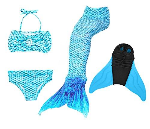 Superstar88 Meerjungfrau Badeanzug Mädchen Niedliche Meerjungfrau Kostüm 3pcs Bikini-Sets Kinder Schwimmflossen (150, Blau+flossen)
