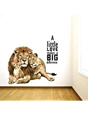 Rawpockets 'Animal Love Quotes' Wall Sticker (PVC Vinyl, 0.99 cm x 55 cm x 60 cm, Multicolour)