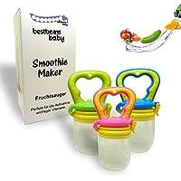 bestbeans Baby Smoothie Maker Fruchtsauger Schnuller - Perfekt für Früchte Obst Gemüse in verschiedenen Farben inkl. Schutzkappe