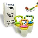 bestbeans Baby Smoothie Maker Fruchtsauger Schnuller - Perfekt für Früchte Obst Gemüse Breisauger (M, Pink)