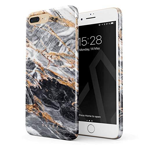 BURGA Hülle Kompatibel mit iPhone 7 Plus / 8 Plus Handy Huelle Schwarz Marmor Gold Black Marble Dünn, Robuste Rückschale aus Kunststoff Handyhülle Schutz Case Cover