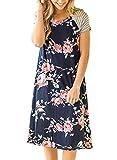 Minetom Femme Fille Été Casual Imprimé Fleur Boheme Mini Robe Courte de Soirée Col Rond Manche Courtes Party Dress Navy Bleu2 FR 38