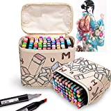 Litchitree 40 Colours Graphic Drawing Painting Alcohol Dual Tip Art Marker Pens, Extra
