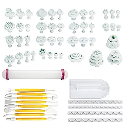 Rocita Cake Decorating Tools 68Pcs Fondant Icing Plunger Cutter Tools Rose Flower Leaf Moulds Set with Icing Smoother & Rolling