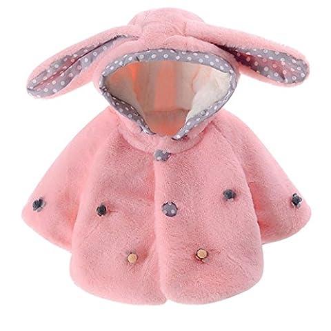 Longra Baby Mode Mädchen Winter Kapuze Jacke Mantel Kapuzenpullover Hoodie mit Kaninchen ohr Baby Winterjacke Wintermantel Warme Kleidung Outwear(0-24Monate) (70CM 6Monate, Pink)