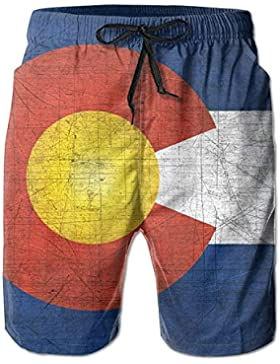 Funny Caps Cool Colorado Flag Men's/Boys Casual Quick-Drying Bath Suits Elastic Waist Beach Pants with Pockets