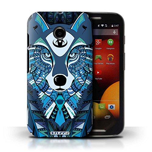 Kobalt® Imprimé Etui / Coque pour Motorola Moto E (2014) / Loup-Couleur conception / Série Motif Animaux Aztec Loup-Bleu