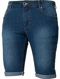 e6d8cc828e6 Kruze New Mens Skinny Fit Ripped Shorts Stretch Distressed Half Denim Jean  Pants