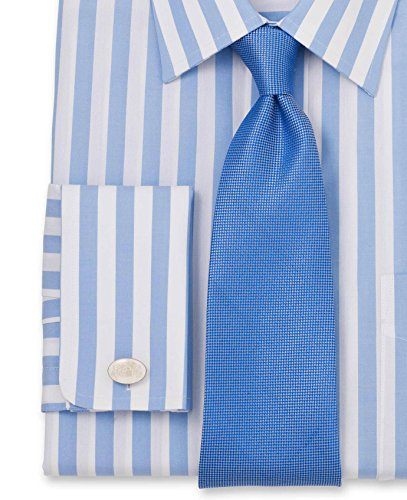 Savile Row Men's Blue White Bold Stripe Classic Fit Shirt - Double Cuff Blue White