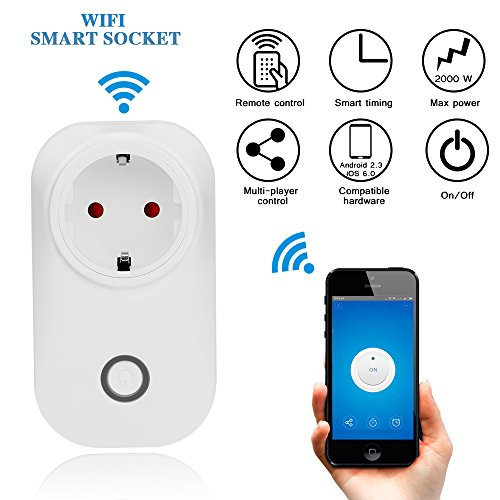 Smart Steckdose Fernbedienung WLAN Switch Steckdose Wireless Electrical Intelligent Outlet Mobile Voice / Remote / Timer Control Socket EU Plug für Android IOS Smartphone (Set von 1 Stück) (Switch Remote Set Control)