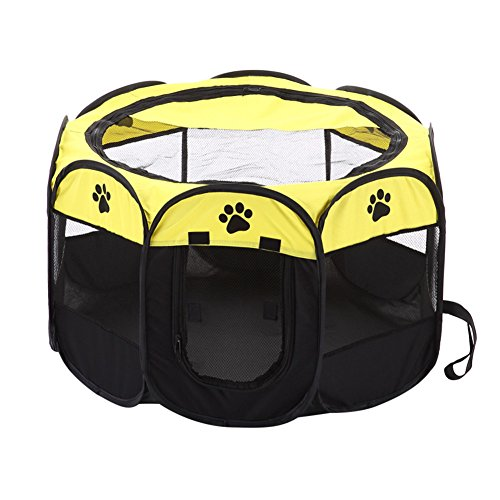 Portable Cat House Pet PlayPen Foldable Puppy Dog Pet Cat Rabbit 8-side Fabric Playpen Crate Cage Kennel by Awhao Yellow
