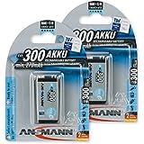 ANSMANN wiederaufladbar LSD Akku Batterie geringe Selbstentladung 9V E-Block 300mAh maxE NiMH vorgeladen sofort einsatzbereit hohe Kapazität ready to use 2er Pack