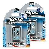 ANSMANN maxE 9V Block Typ 300 (min. 270mAh) vorgeladener 9V Akku geringe Selbstentladung Akkubatterie (2er Pack)