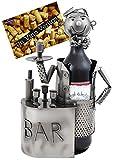 BRUBAKER portabottiglie per vino dal design 'barista' con biglietto d'auguri, scultura in metallo