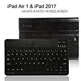 Apple iPad Air 1 Deutsche Bluetooth Tastatur,CoastaCloud Ultra-Thin QWERTZ Deutsche Bluetooth Tastatur Keyboard Case für Apple iPad Air 1(A1474 A1475)Schwarz
