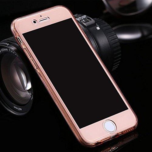 iPhone 7/8 Plus Coque, iPhone 7/8 Plus TPU Coque,iPhone 7/8 Plus Double Faces Corps entier Silicone Housse,ETSUE Coque Silicone Gel Créativité Transparent 360 Degré Avant et arrière Ultra-mince Full C OR Rose