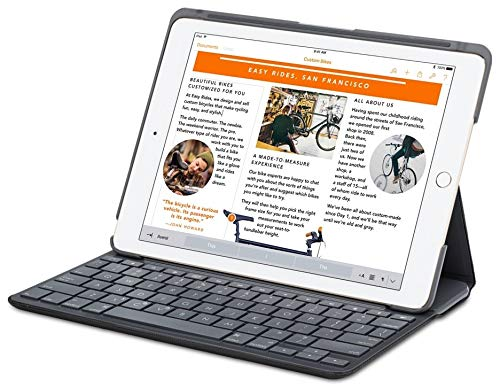 Logitech Canvas Bluetooth Nero di Carbonio Tastiera per iPad Air 2 A1566 / A1567 (Non per iPad Air 1)