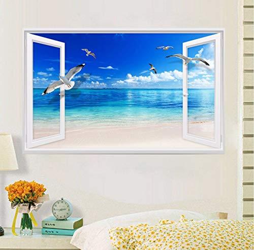 (Lvabc Sommer Strand Möwen 3D Fenster Ansicht Aufkleber Strand Thema Wandmalereien Kunst Abnehmbare Vinyl Aufkleber Für Wohnzimmer Wanddekor)