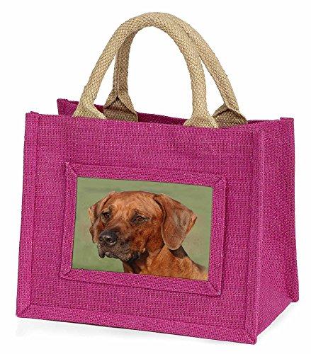 Advanta–Mini Pink Jute Tasche Rhodesian Ridgeback Hund Little Mädchen klein Einkaufstasche Weihnachten Geschenk, Jute, pink, 25,5x 21x 2cm