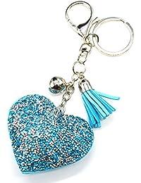 pt1310d–Llavero/joya de Bolsa–corazón XXL clavos brillantes y fieltro, azul/plateado