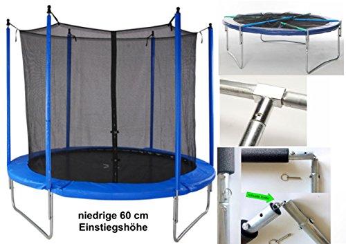 Trampolin Ø 305cm Outdoor Komplett-Set mit klappbarem Innen-Sicherheitsnetz Tragkraft 120kg TÜV/GS Kinder Gartentrampolin mit Sprungmatte Randabdeckung gepolsterte Netzpfosten blau