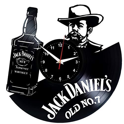 EVEVO Jack Daniels Wanduhr Vinyl Schallplatte Retro-Uhr Handgefertigt Vintage-Geschenk Style Raum Home Dekorationen Tolles Geschenk Wanduhr Jack Daniels Uhr Jack