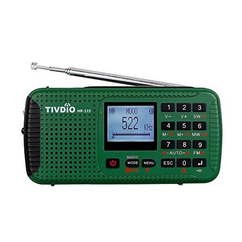 Tivdio HR-11S Tragbares Radio Dynamo Kurbel Notfall AM FM Kurzwellenlaut Weltempfänger mit USB Powerbank Wireless MP3 Player Digitaler Video Recorder Taschenlampe SOS Camping Outdoor Survival(Grün)