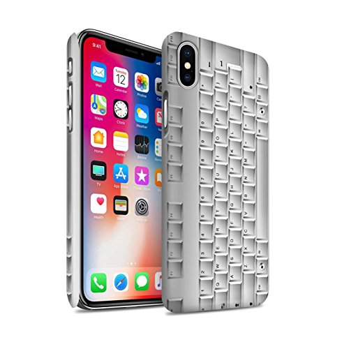 STUFF4 Matte Snap-On Hülle / Case für Apple iPhone X/10 / Tastatur Muster / Schaltfläche/Tasten Kollektion Tastatur/Blanc