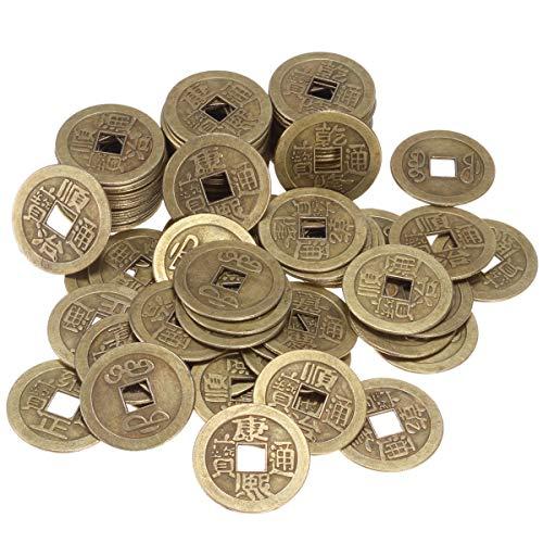 ANCIRS 100 Stück chinesische Feng Shui Münzen, antikes Bronze, Glücksbringer, asiatische Themen-Dekoration, für Gesundheit und Reichtum - 2,5 cm -