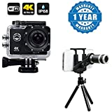 Drumstone Wifi 4K Waterproof Helmet Sports Camera With 2 Inch LCD Display Ultra-HD 4K With UNIVERSAL 8X ZOOM TELESCOPE Mini Stand Compatible With Xiaomi, Lenovo, Apple, Samsung, Sony, Oppo, Gionee, Vivo Smartphones (One Year Warranty)