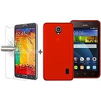 TBOC® Pack: Funda de Gel TPU Roja + Protector Pantalla Vidrio Templado para Huawei Ascend Y635. Funda de Silicona Ultrafina y Flexible. Protector de pantalla Resistente a Golpes, Caídas y Arañazos.