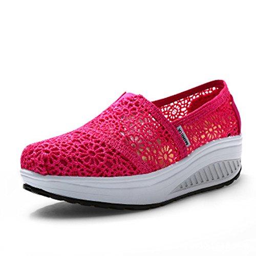 Cunhas Preguiçosos Sapatilha Deslizamento Rede Verão Sapatas Cunha Mulheres Malha Sapatos Superfície Plateau Da Correndo Da De Sapatos Rosa01 Casuais De Respirável Calcanhar Sobre TX5xw7dqz