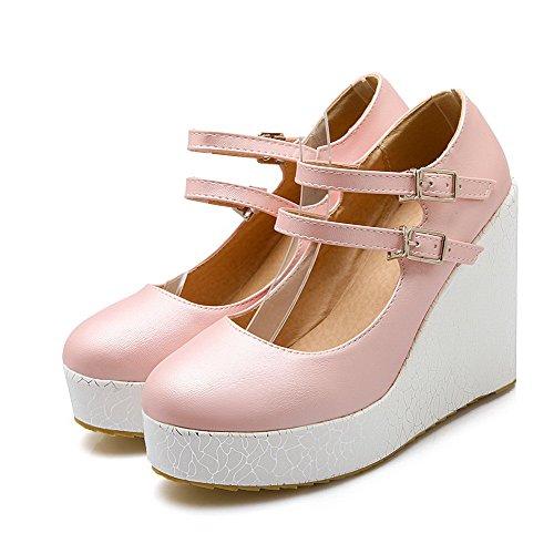 AllhqFashion Damen Schnalle Rund Zehe Hoher Absatz Pu Pumps Schuhe Pink