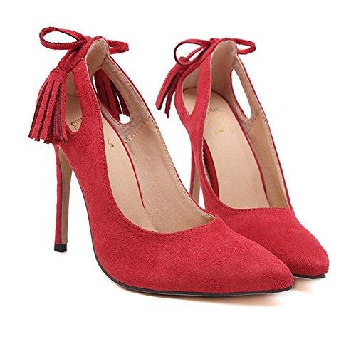 YMXJB L'Europe et la semelle en caoutchouc haute talons souliers pour dames stiletto parti des Red