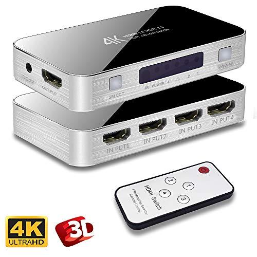 Switch HDMI, Splitter HDMI 2.0 4k 60Hz 1x4 HDMI Switcher 1 Entrada 4 Salidas, Ultra HD 4096x2160 con Control Remoto para HDTV DVD PS3 Xbox Bluray, Apple TV 4K