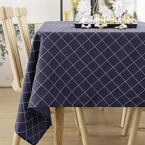 Deconovo tovaglia antimacchia in tessuto impermeabile rettangolare copritavolo per tavolo moderno 140x240cm blu navy