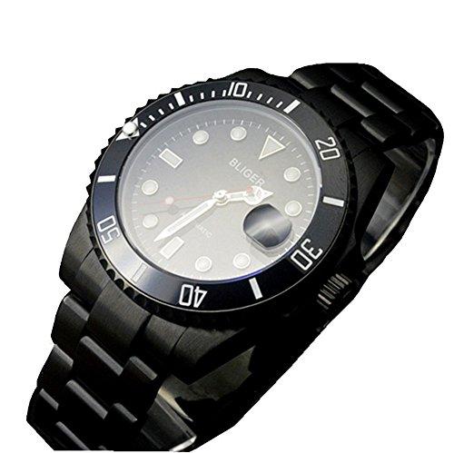bliger 40mm Keramik PVD vergoldet deutschen Style Kristall Saphir Keramik Lünette Schwarz Zifferblatt Automatik Uhr