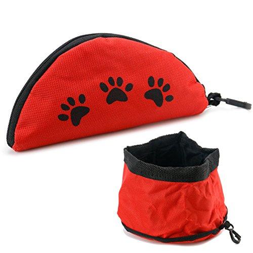 DIGIFLEX Ciotola da viaggio rossa, pieghevole in nylon per il cane