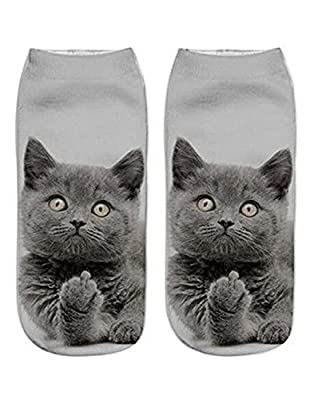 Gluckliy Women Girls Low Ankle Athletic Funny Socks Cute Cat Novelty Happy Socks Fitness Sport Stocking : everything £5 (or less!)