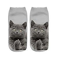 Gluckliy Women Girls Low Ankle Athletic Funny Socks Cute Cat Novelty Happy Socks Fitness Sport Stocking (Cat 7)