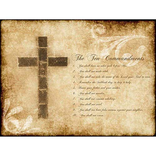 Wee Blue Coo LTD Ten Commandments 10 Cross Christian Religious Quote Typography Art Print Poster Wall Decor Kunstdruck Poster Wand-Dekor-12X16 Zoll (Cross Christian Art)