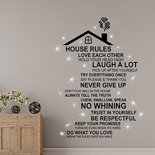 Rooftop House Rules and Crystal Vinyl Walll Decal Home Decar -