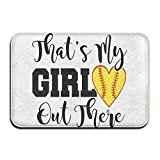 Home Door Mat That's My Girl Out There Softball Doormat Door Mats Entrance Rugs Anti Slip 23.6 X 15.7.6 InchFor Indoor Outdoor