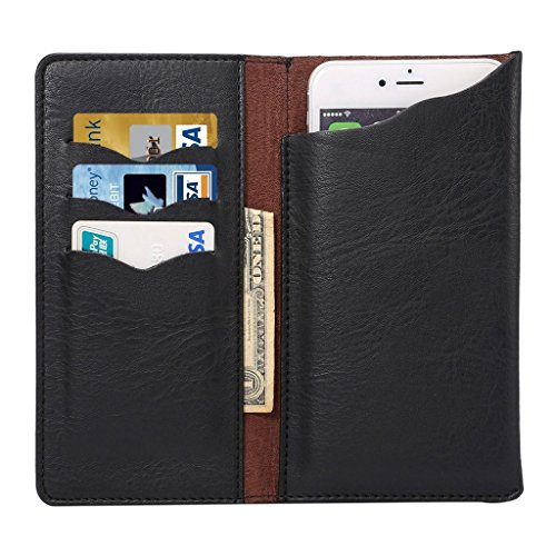 """DFV mobile - Vertical Cover Premium PU Leather Case with Wallet & Card Slots for =>      APPLE iPhone 6s Plus [5,5""""] > BLUE Black"""
