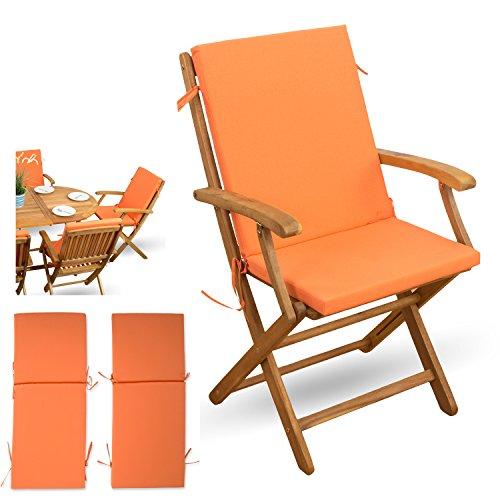 XINRO 2-tlg Auflagen Set mit Rückenteil # orange # für verstellbaren Klappstuhl Sitzgruppen...