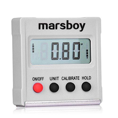 Digitaler Neigungsmesser - Mini LCD Winkelmesser, tragbares Winkelmessgerät mit vier magnetischen Seiten, Gefällsmesser für Absolute/Relative Winkelmessung, 4*90°, Bevel Box mit Selbstkalibrierung, ideal für Hausbau, Maschinenbau, Autoreparatur